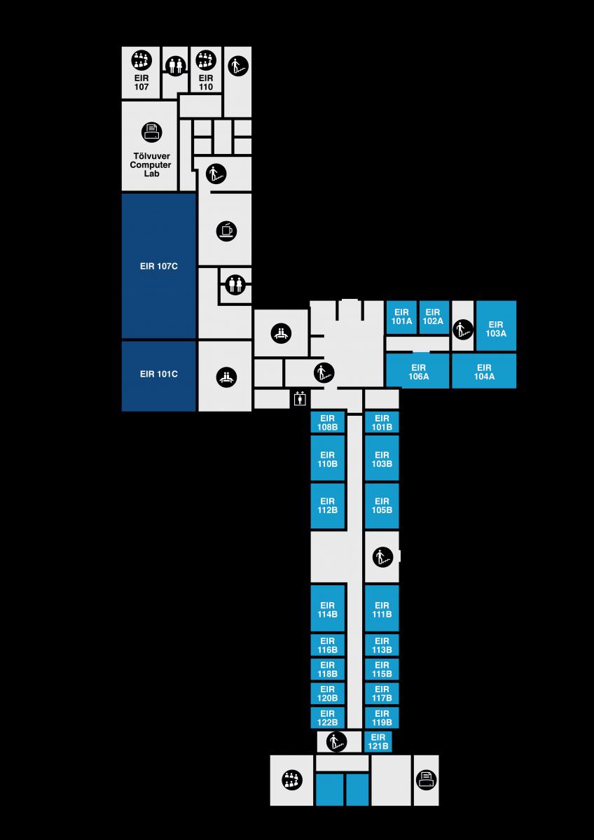 Yfirlitsmynd af Eirbergi: 1. hæð