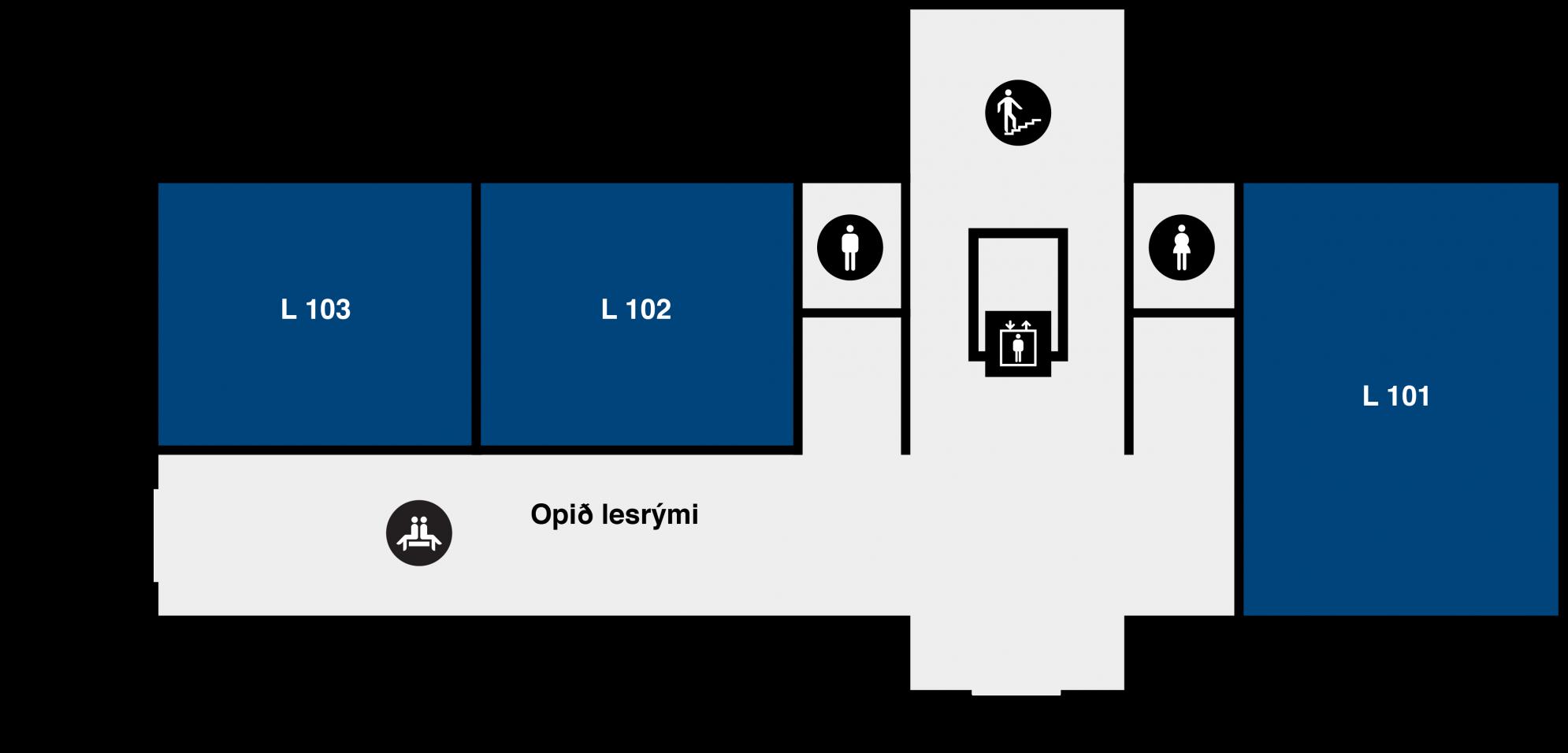 Yfirlitsmynd af Lögbergi: 1. hæð