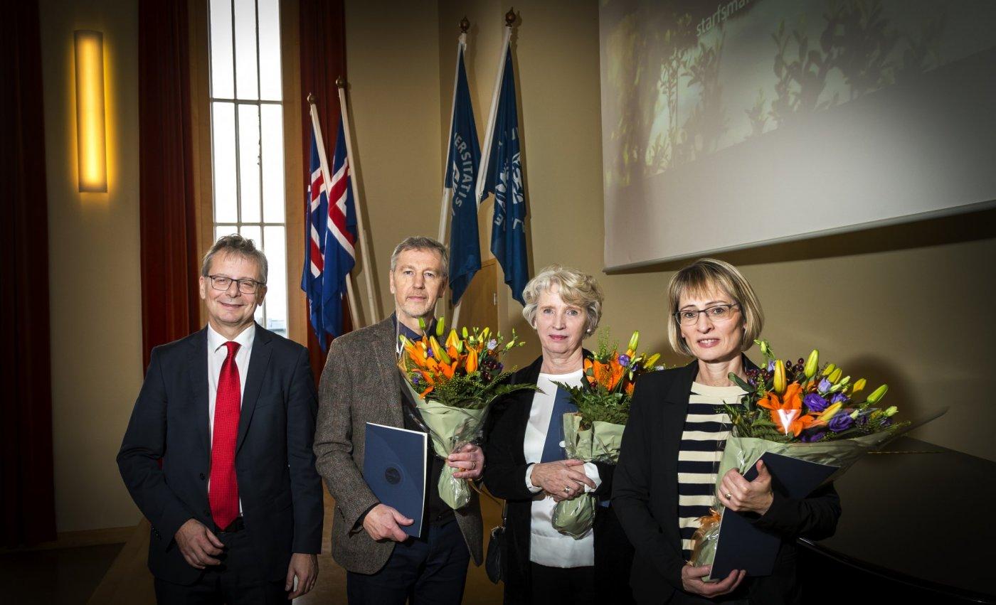 Frá vinstri: Jón Atli Benediktsson, Vilhjálmur Árnason, Sigríður Harðardóttir og Fjóla Jónsdóttir.