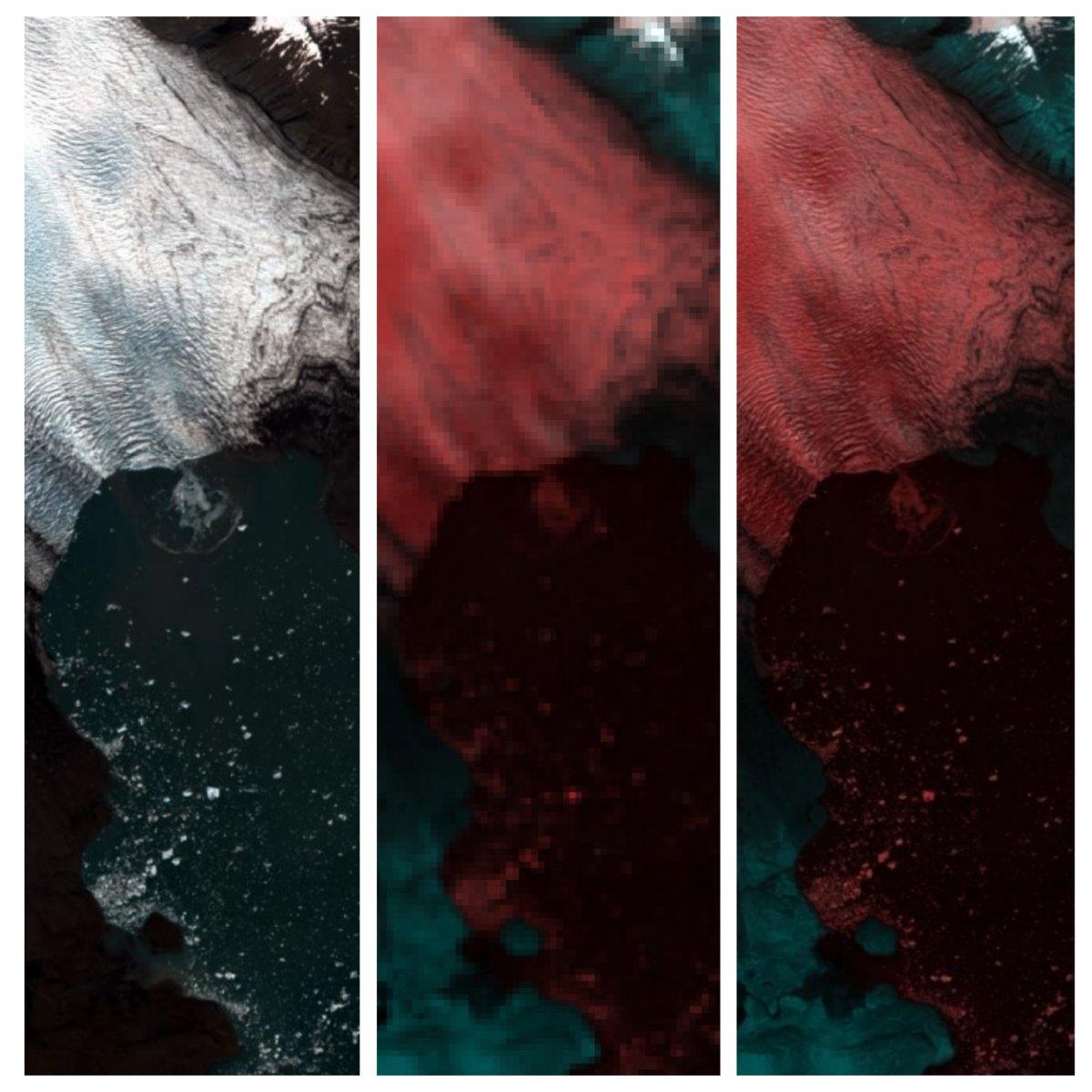Myndin var tekin af Sentinel-2B þann  22. apríl síðastliðinn og sýnir kelfingu Breiðamerkursjökuls í  Jökulsárlóni. Frá vinstri: RGB litamynd (10 m), 60 m rásir, (c) skerpt ar 60m rásir (10 m).