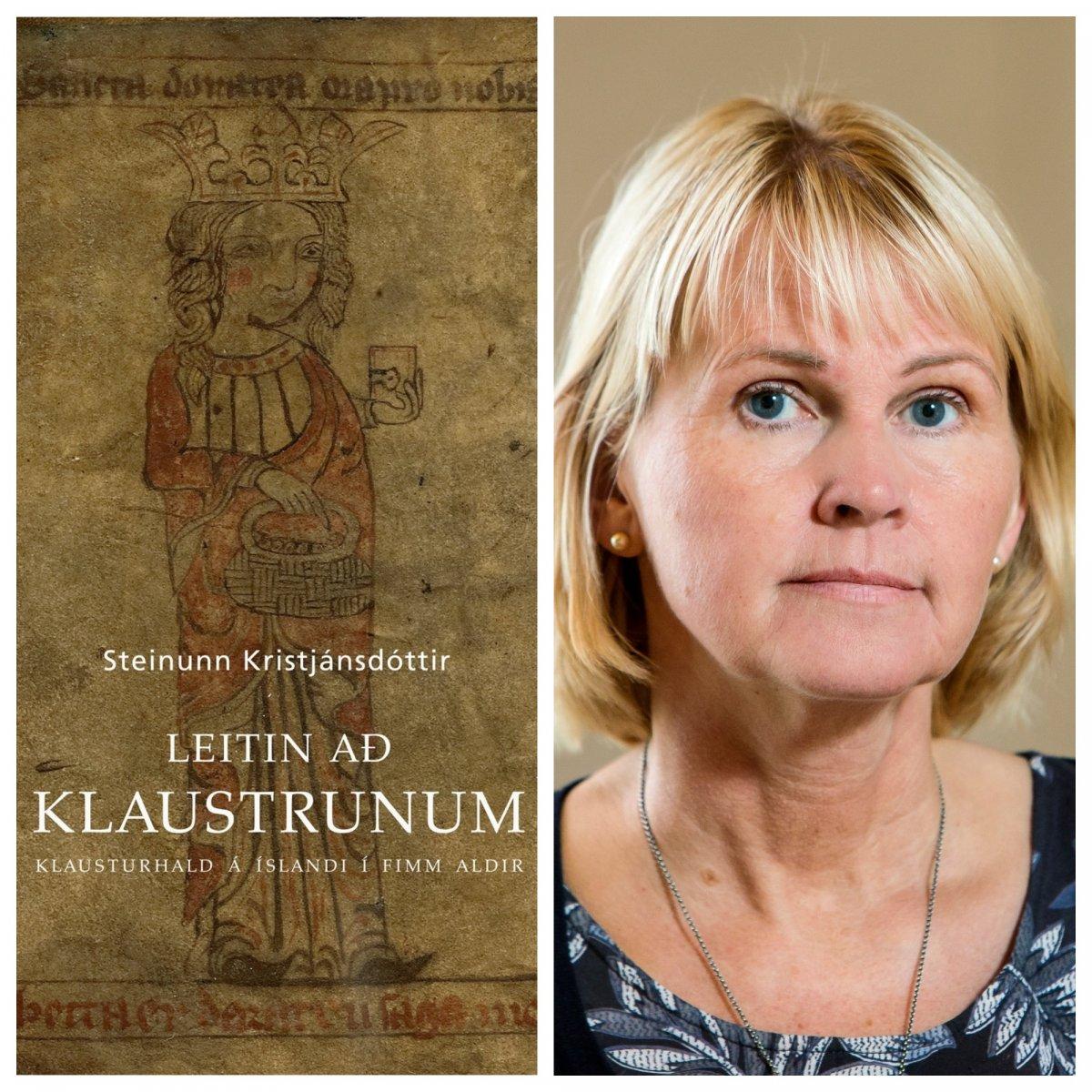 Steinunn Kristjánsdóttir og kápa bókarinnar Leitin að klaustrunum