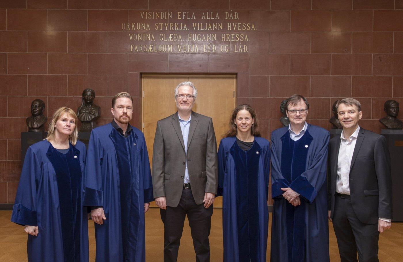 Steinunn J. Kristjánsdóttir, Jussi Backman, William Konchak, Samantha Harvey, Guðmundur Hálfdanarson og Björn Þorsteinsson.
