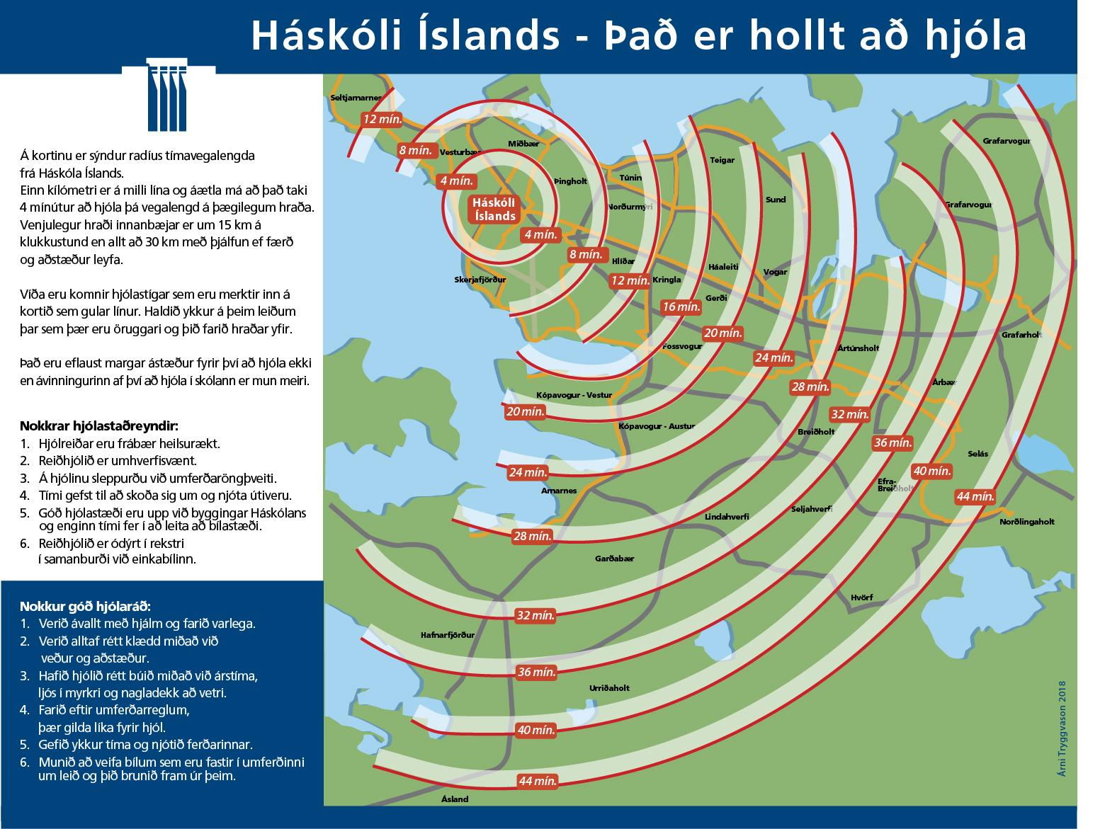 Kort sem sýnir hversu lengi er verið að hjóla á háskólasvæðið frá ólíkum borgarhlutum.
