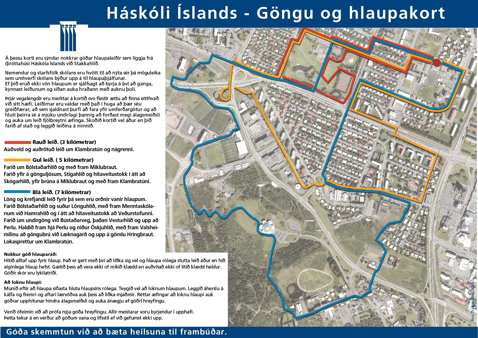 Göngu- og hlaupakort nærri háskólasvæðinu í Stakkahlíð.