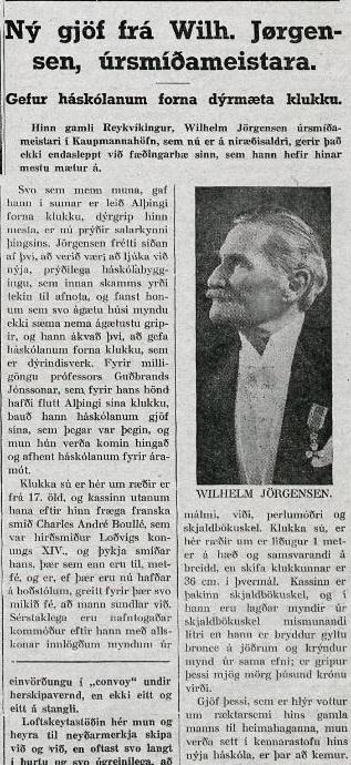Ný gjöf frá Wilh. Jørgensen, úrsmíðameistara (Vísir 20. nóvember 1939)