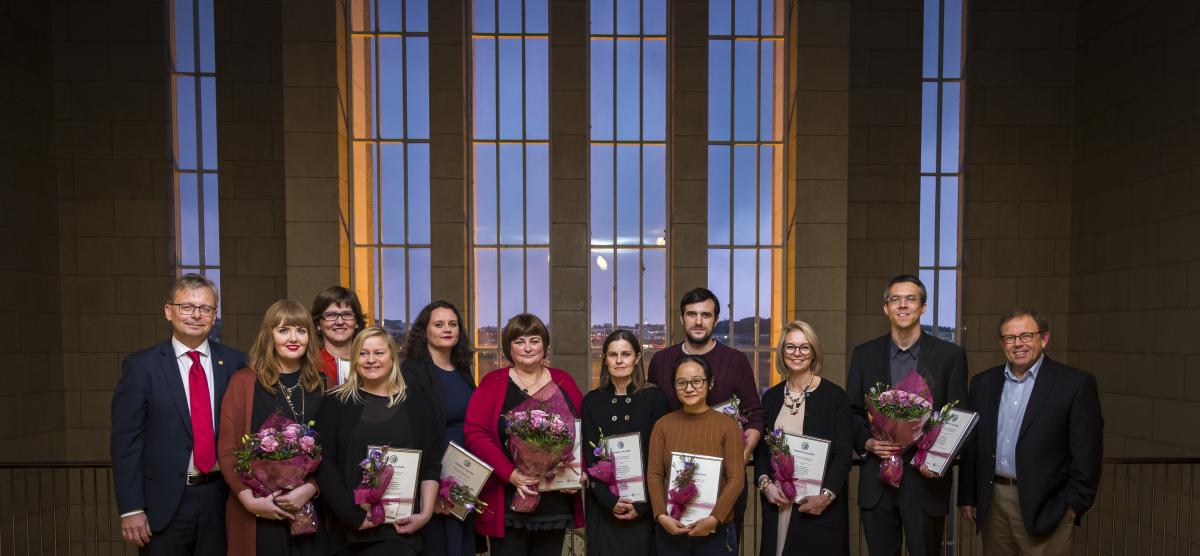 Verðlaunahafar ásamt Jóni Atla Benediktssyni, rektor Háskóla Íslands, og Kristni Andersen, formanni dómnefndar Hagnýtingarverðlaunanna.
