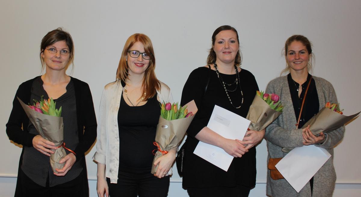 Verðlaunahafarnir fjórir. Frá vinstri: Ólöf Birna Ólafsdóttir, Heiða María Sigurðardóttir, Ellen Alma Tryggvadóttir og Eydís Einarsdóttir.