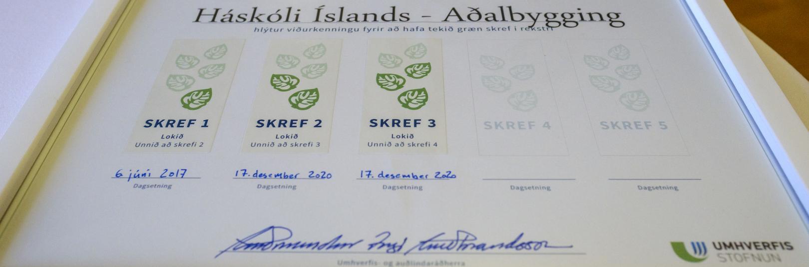 Þremur grænum skrefum af fimm lokið í Aðalbyggingu - á vefsíðu Háskóla Íslands