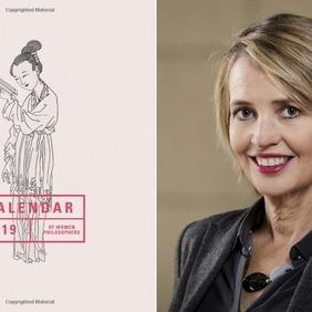 Forsíða Calendar of Women Philosophers 2019 og ritstjóri bókarinnar, Sigríður Þorgeirsdóttir prófessor.