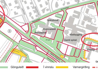 Kort af Landspítalasvæðinu við Hringbraut