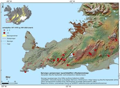Kort sem sýnir sprungur, gossprungur og jarðskjálftar á Reykjanesskaga.