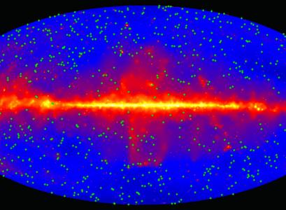 Myndin sýnir himininn í gammageislum eins og hann blasir við Fermi sjónauka NASA. Rauðleita strikið fyrir miðju sýnir skífu Vetrarbrautarinnar okkar. Staðsetning risasvartholanna sem notuð voru í rannsókninni eru merkt með grænum punktum.