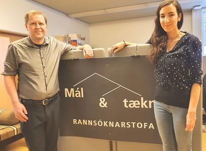 Anton Karl Ingason, lektor í íslenskri málfræði og máltækni,og Elena Callegari nýdoktor.