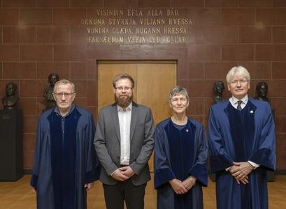 Höskuldur Þráinsson, Heimir Freyr van der Feest Viðarsson, Caroline Heycock og Torfi Tulinius.