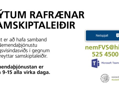 Nemendaþjónusta Félagsvísindasviðs býður upp á fjölbreyttar samskiptaleiðir