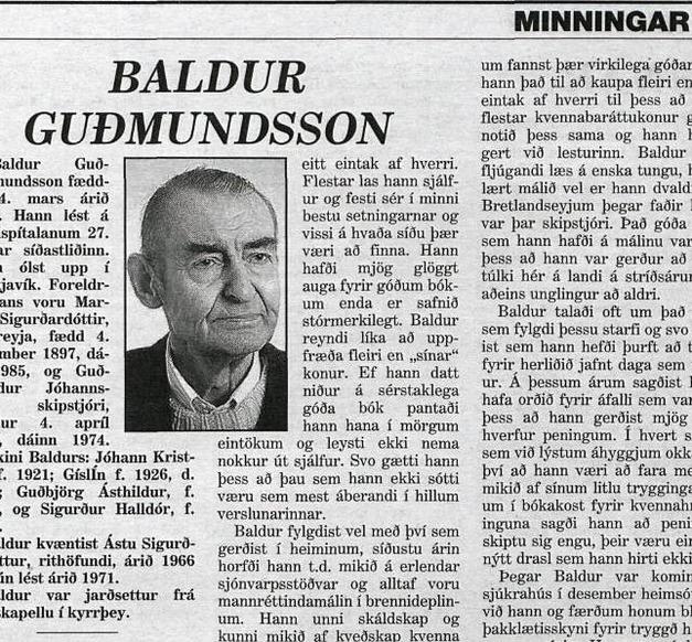 Úr minningargreinum um Baldur, en hann lést árið 1999.