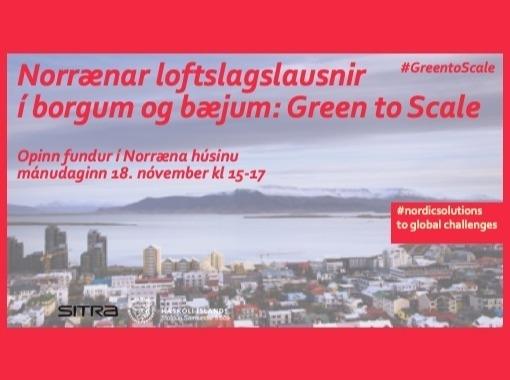 Norrænar loftslagslausnir í borgum og bæjum: Green to Scale